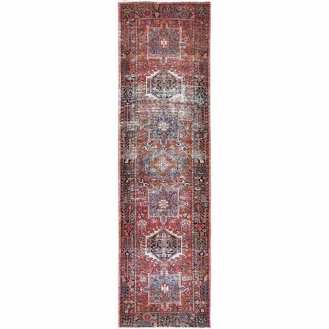 "Shahbanu Rugs Vintage Terracotta Red Persian Karajeh Worn Down Natural Wool Bohemian Hand Knotted Wide Runner Rug (3'4""x11'10"")"