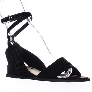 Via Spiga Enora Ankle Strap Up Low Wedge Sandals - Black