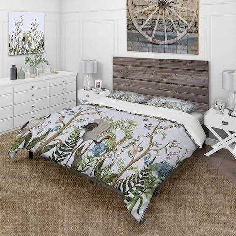 Designart 'Border With Cranes & Peonies In Chinoiserie Style' Traditional Duvet Cover Comforter Set