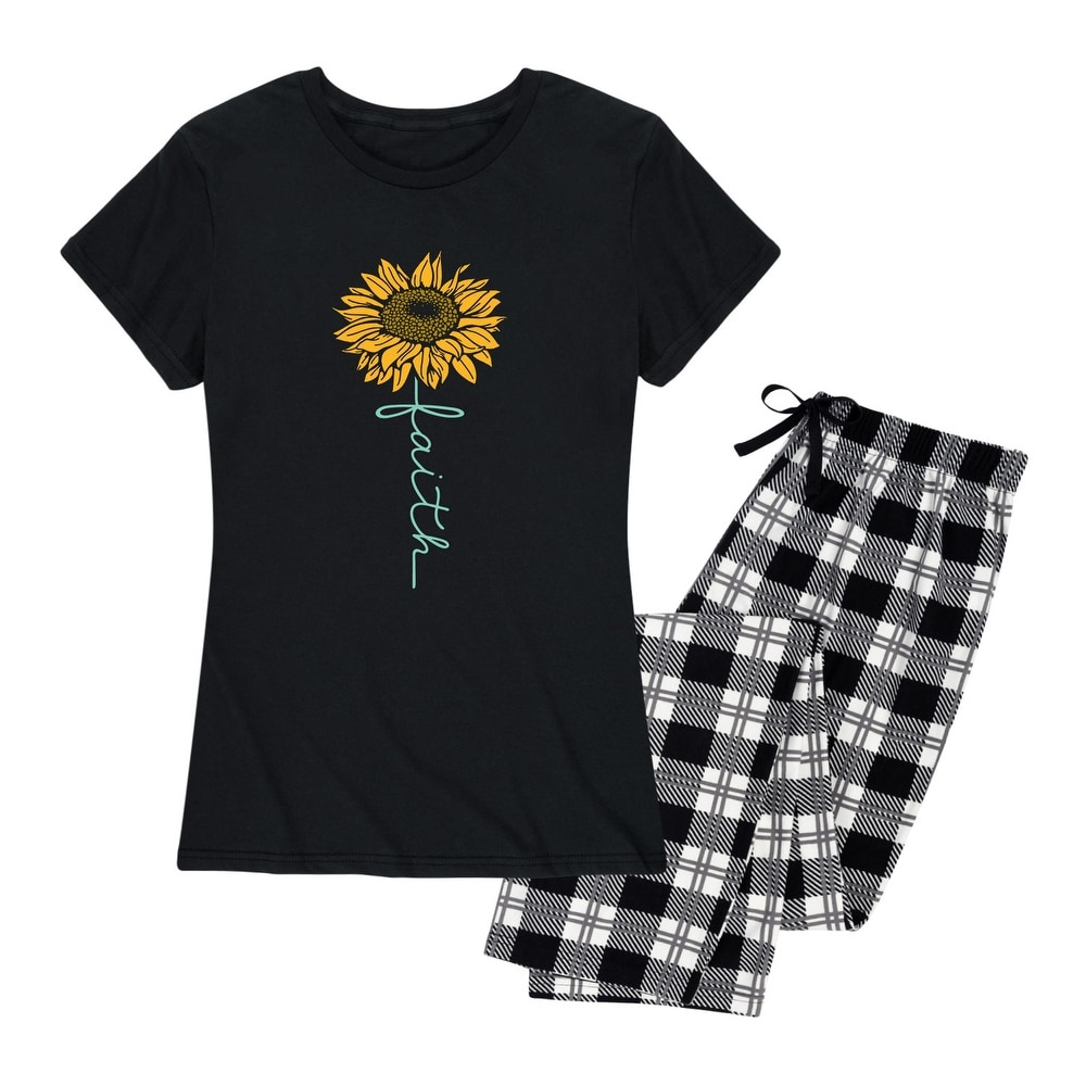 Faith Sunflower - Womens Pajama Set - Black Black Plaid