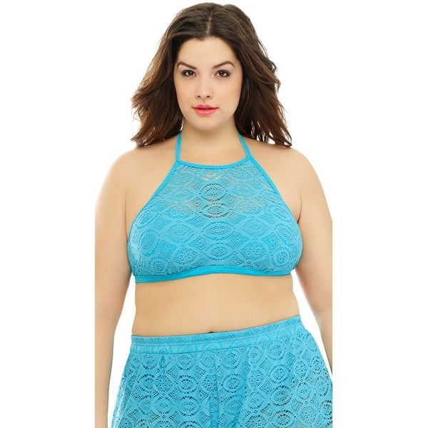 78b5d5002b87c Shop Plus Size High Neck Crochet Bikini Top, Plus Size Crochet Bikini Top -  Turquoise - Free Shipping On Orders Over $45 - Overstock - 27968542