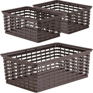 "Brown; 3 Sizes Up To 9""X14""X5"" - Rimax Deco Storage Baskets Set/3"