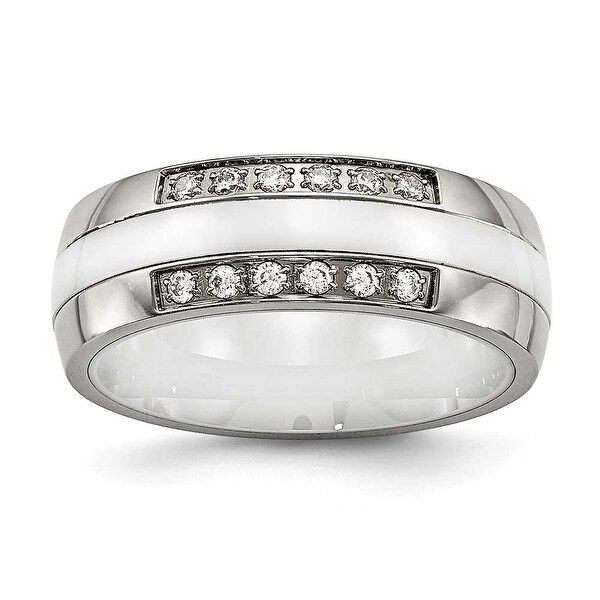 Stainless Steel Polished White Ceramic CZ Ring (7 mm)