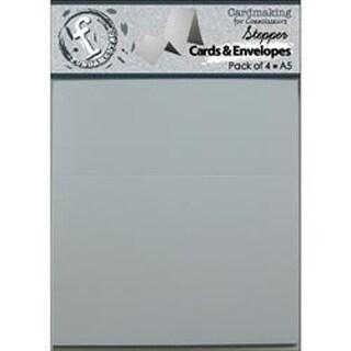 """Accordion White - Fundamentals Stepper A5 Cards & Envelopes 8.5""""X5.5"""" 4/Pkg"""
