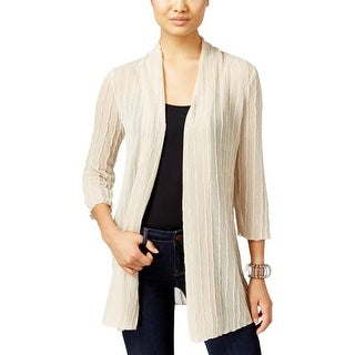 JM Collection Womens Open-Front Textured Cardigan Sweater, Stone, PL