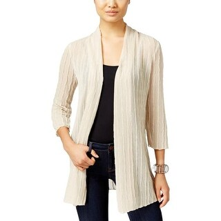 JM Collection Womens Open-Front Textured Cardigan Sweater, Stone, PXL - Beige - xL