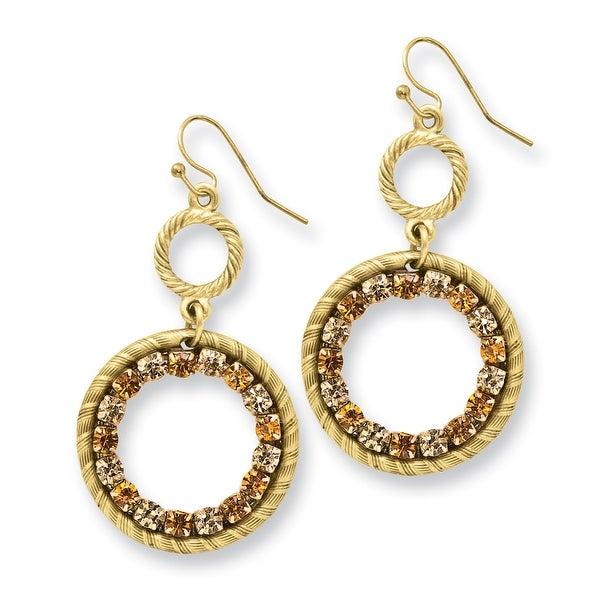 Goldtone Open Oval Acrylic Cameo Dangle Earrings