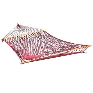 Sunnydaze Caribbean XL Rope Hammock with Spreader Bars & Hammock Stand