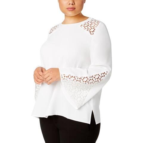 Kasper Womens Plus Blouse Lace Bell Sleeve