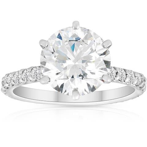 3 3/4 Ct Diamond Engagement Ring 14k White Gold