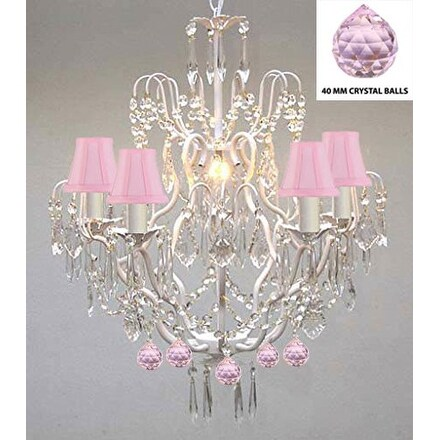 Authentic Empress Crystal (TM) Wrought Iron Chandelier With Pink Crystal Balls and Shades