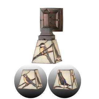 """Meyda Tiffany 98530 Early Morning Visitors 5"""" Wide Single Light Wall Sconce with Stained Glass Shade - Bronze"""
