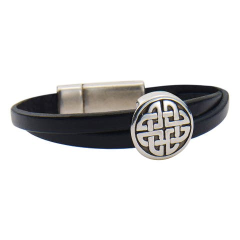 Jodi Bombardier Women's Celtic Bracelet - Silver Plated Pewter and Black Leather