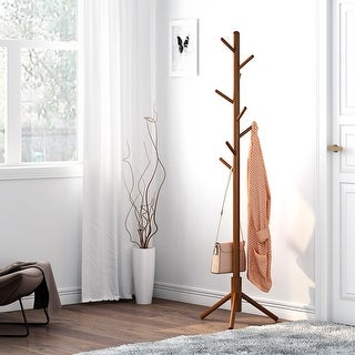 LANGRIA Solid Rubberwood Coat Rack Stand Hat Hanger Tree Holder, Clothes Organizer with Tripod Base - Coffee