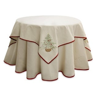"""Pack of 2 Elegant Beige Linen Look Table Toppers with Green & Red Festive Christmas Tree Design 54"""""""