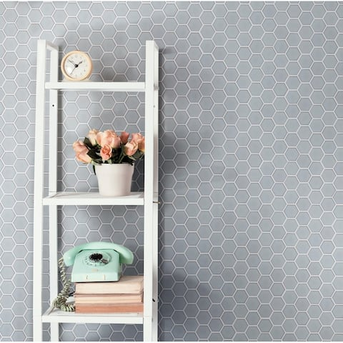 "SomerTile Hudson Due Hex 2"" Silk White 12.5"" x 11.25"" Porcelain Mosaic Tile"