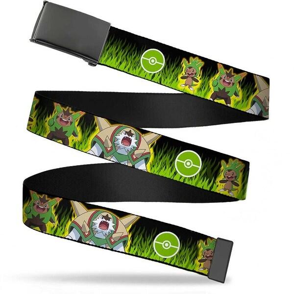 Blank Black Buckle Chespin Evolution Poke Ball Grass Black Greens Web Belt