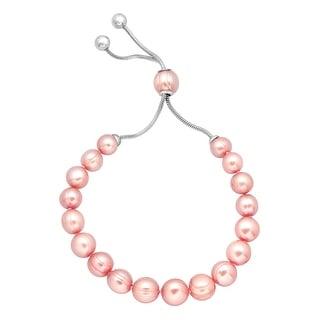 Honora 7-10 mm Freshwater Rose Pearl Bracelet with Slider in Stainless Steel