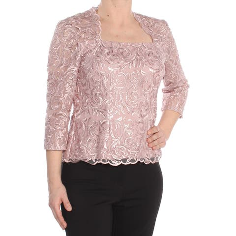 ALEX EVENINGS Womens Pink Textured 3/4 Sleeve Jewel Neck Formal Top Size: 6