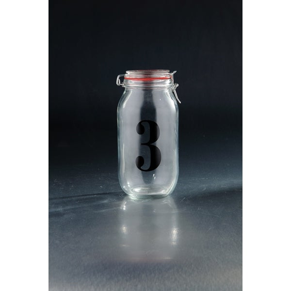 """10"""" Cylindrical Hand Blown """"3"""" Printed Storage Glass Jar with Finial Lid - N/A"""