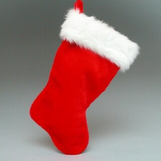 Pack of 6 Classic Red Christmas Stockings With Faux Rabbit Fur Cuffs