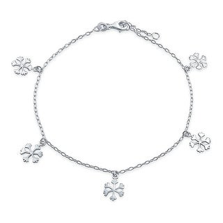 Snowflake Dangle Anklet Adjustable 9 to 10 Inch Sterling Silver
