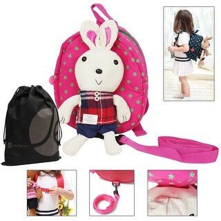 JAVOedge Toddler Safety Harness Backpack with Removable Stuffed Bunny and Bonus Reusable Storage Bag - blue bear