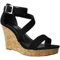 Charles by Charles David Women's Leanna Platform Wedge Sandal Black Microsuede