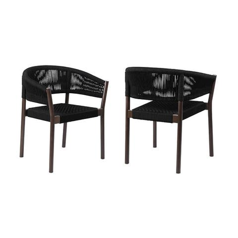 Doris Indoor Outdoor Dining Chair in Light Eucalyptus Wood with Charcoal Rope - Set of 2
