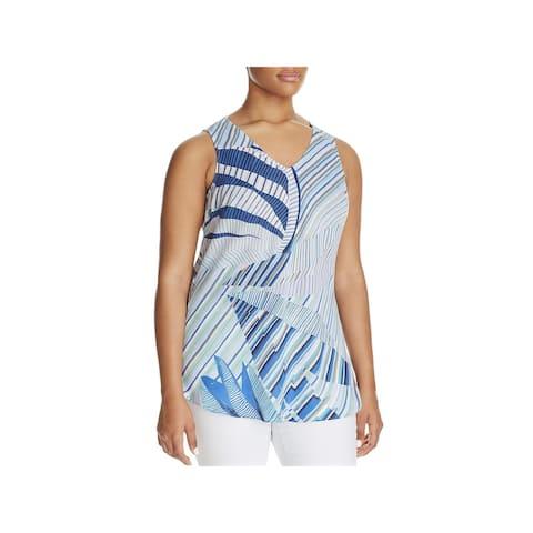 Nic + Zoe Womens Plus Palm Lines Blouse Chiffon Printed