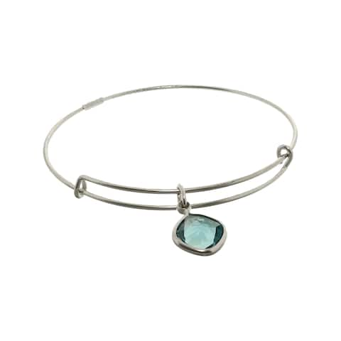 "Alex And Ani Women's Indicolite Harmony Color Therapy Bangle Bracelet - 7"" - Silver"