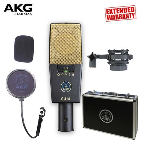 AKG C414 XLII Multi-Pattern Large-Diaphragm Condenser Microphone - Includes - 2-Year Extended Warranty