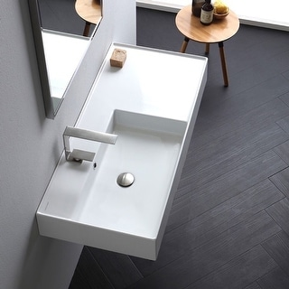 "Nameeks Scarabeo 5119  Scarabeo Teorema 2.0 40"" Rectangular Ceramic Vessel or Wall Mounted Bathroom Sink with Overflow"