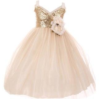 Flower Girl Dress Sequin Bodice Ruffle Bias Trim Champagne KK 6411