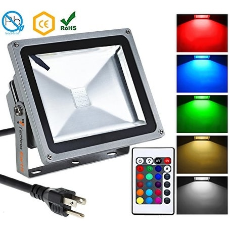 Techno Earth Remote Control RGB LED Flood Lights, Color Changing LED Security Light, 16 Colors & 4 Modes, Waterproof