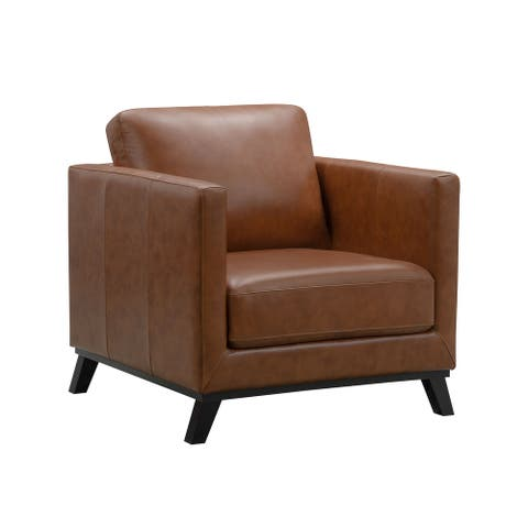 Abbyson Woodstock Mid Century Top Grain Leather Chair
