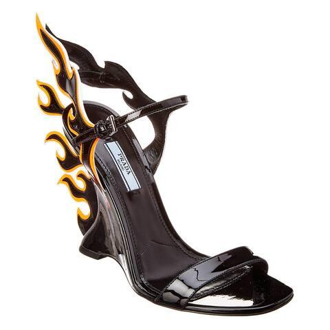 Prada Flame Patent Wedge Sandal