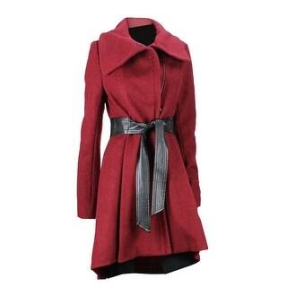 Steve Madden Red Envelope Collar Belted Coat S - small