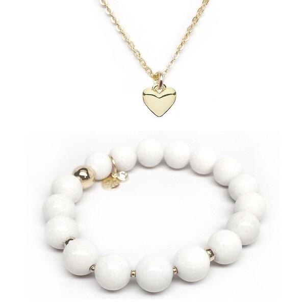 White Jade Bracelet & Heart Gold Charm Necklace Set