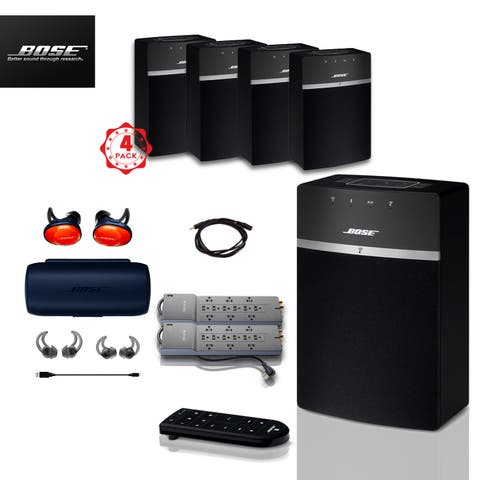 4x Bose SoundTouch 10 (Black) + FREE SoundSports + 3 pc Acc Bundle