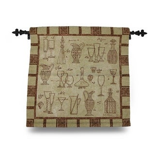 Brown and Tan Cheers Glasses and Carafes Tapestry Wall Hanging w/Rod 26 X 26 in.