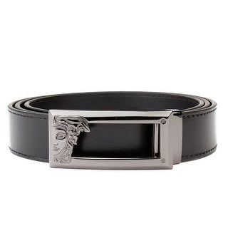 Versace Collection Men's Medusa Logo Stainless Steel Buckle Leather Belt Black (3 options available)