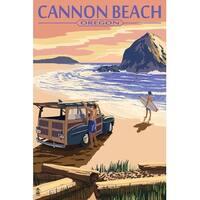 Cannon Beach, OR - Haystack Rock - LP Artwork (100% Cotton Towel Absorbent)