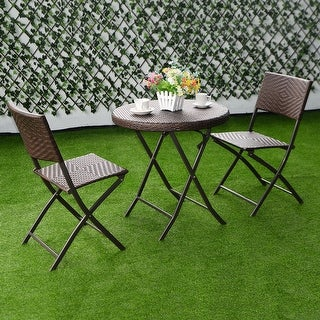 shop costway 3pc folding round table chair bistro set rattan