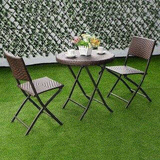 Costway 3PC Folding Round Table & Chair Bistro Set Rattan Wicker Outdoor Furniture