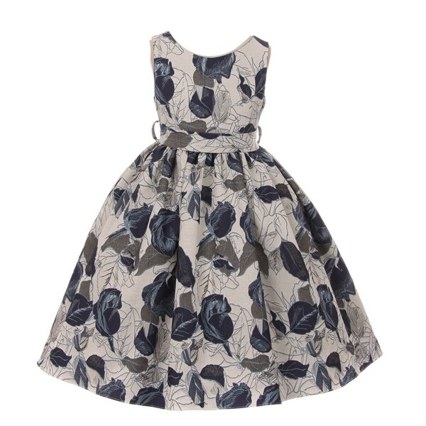 da03e6d122 Kids Dream Little Girls Midnight Blue Floral Jacquard Flower Girl Dress