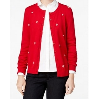 Tommy Hilfiger NEW Red Womens Size Large L Embellished Cardigan Sweater