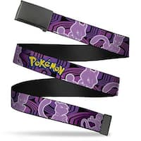 Blank Black  Buckle Pokemon Mewtwo Poses Black Purples Webbing Web Belt