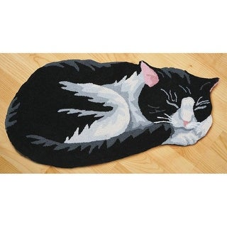 Hand-Hooked Black And White Cat Area Rug - Exclusive From What On Earth