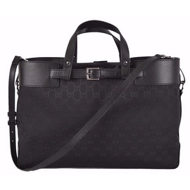 New Gucci 336663 Black GG Guccissimia Belted Convertible Purse Handbag Tote